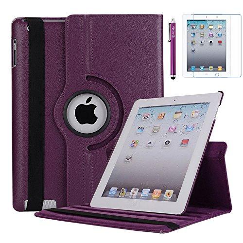 iPad 2 Case, iPad 3 Case, iPad 4 Case, AiSMei Rotating Stand Case Cover with Wake Up/Sleep For Apple iPad 2, iPad 3, iPad 4 [ 9.7-Inch iPad Released before 2013 ] [Bonus Film+Stylus] Purple