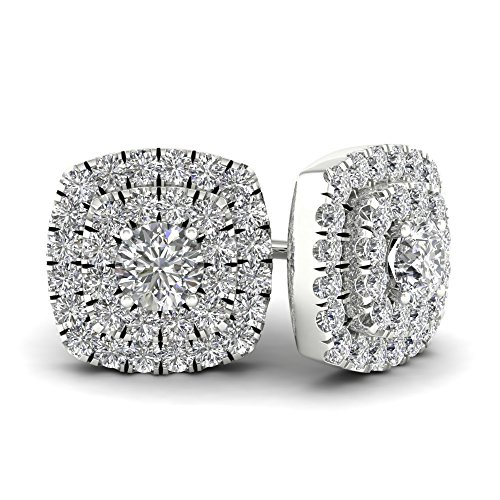 10k White Gold 1/2ct TDW Diamond Double Square Frame Halo Stud Earrings (I-J, (Tdw Diamond Square Earrings)