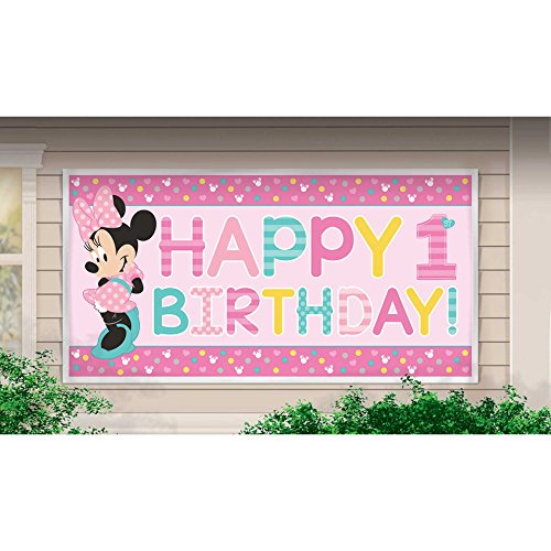 amscan Disney Minnie's Fun to be One Horizontal Giant Sign Banner, Birthday -