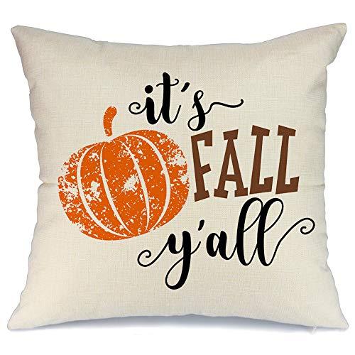 AENEY Its Fall Yall Throw Pillow Cover Pumpkin 18 x 18 Couch Vintage Fall Decorations Farmhouse Home Decor Hello Autumn Thanksgiving Decorative Pillowcase Faux Linen Cushion Case Sofa