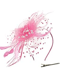 Fascinators Hat Flower Mesh Ribbons Feathers on a...