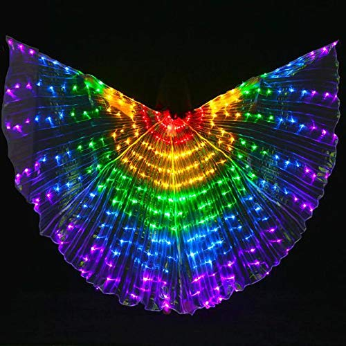 Tieesa LED Butterfly Isis Wings Rainbow Kids Butterfly Wings Colorful Belly Dance Costumes Glowing Performance Clothing with Telescopic Stick for Stage Shows、Festival and Party