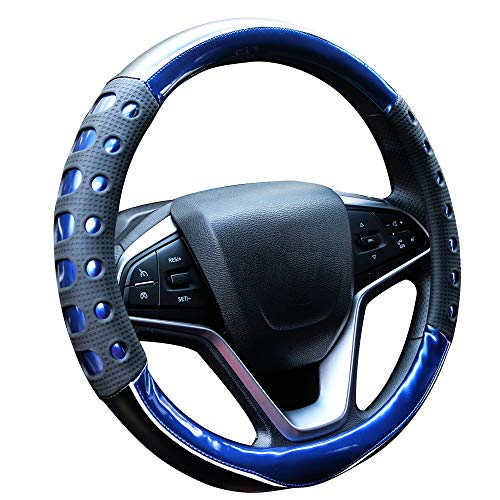AOSAKE Leather Steering Wheels Cover Universal with Non-Slip Handle Car Steering Cover for 15 inches Steering Wheels (Blue)