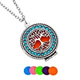 HooAMI Aromatherapy Essential Oil Diffuser Necklace Sapphire Diamond Tree of Life Pendant Locket