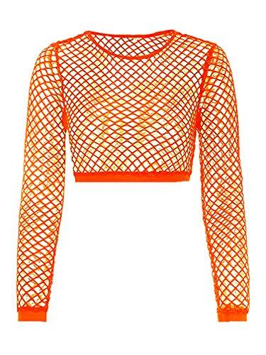 Nihsatin Women's Elastic Fishnet Long Sleeve Mesh Crop Top Clubwear See Through - Bras Fishnet
