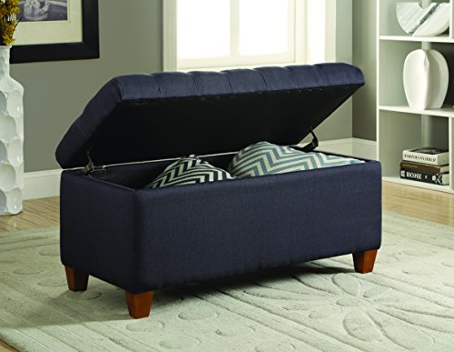Coaster Traditional Tufted Storage Bench, Navy - Contemporary Storage Bench