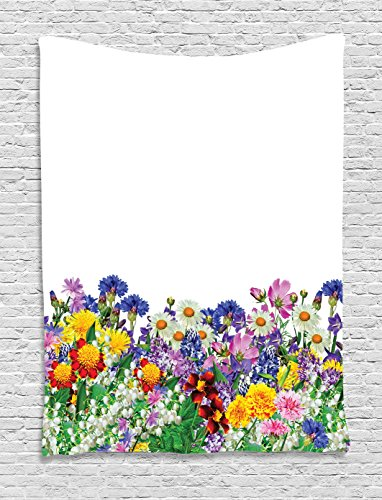 Ambesonne Flower Decor Tapestry by, Floral Garden with Daisies Violets Tulips Nature Colored Theme Decor Art Print, Wall Hanging for Bedroom Living Room Dorm, 40WX60L Inches, (Tulip Floral Tapestry)