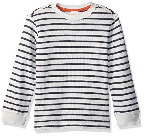 Gymboree Toddler Boys' Long Sleeve Waffle Stripe Tee, White Stripe, 3T Boys Waffle Knit Tees