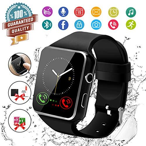 (Smart Watch,Bluetooth Smartwatch Touch Screen Wrist Watch with Camera/SIM Card Slot,Waterproof Phone Smart Watch Sports Fitness Tracker Compatible Android Phones Black)