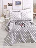 LaModaHome Luxury Soft Colored Bedroom Bedding 100% Cotton Double Coverlet (Pique) Thin Coverlet Summer/Soft Relaxed Comfortable Pattern Dog Animal Mottled /