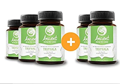 Highest Potency Triphala - 90 Tablets - 90mg - 40% Tannins - Contains Amalaki, Haritaki and Bibhitaki - Best Digestive, Cleansing, Weight Loss Supplement Herb - 5 Pack - by Ancient Health Care