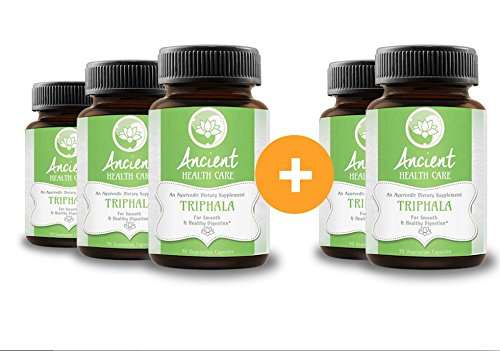 Highest Potency Triphala - 90 Tablets - 90mg - 40% Tannins - Contains Amalaki, Haritaki and Bibhitaki - Best Digestive, Cleansing, Weight Loss Supplement Herb - 5 Pack - by Ancient Health Care by Ancient Health Care