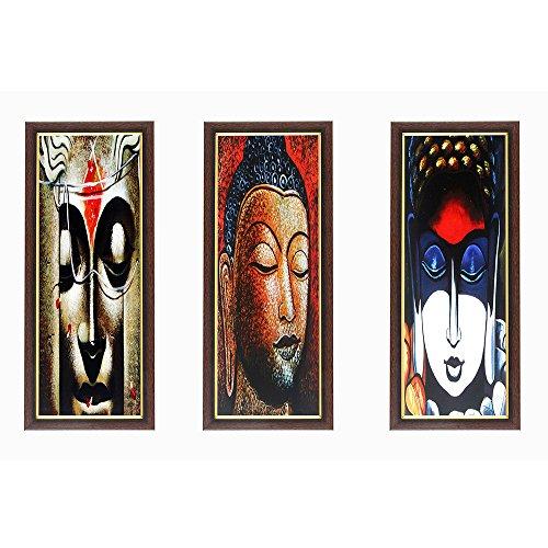 Wens Buddha MDF Wall Art (28 cm x 13.5 cm x 1 cm, Set of 3)