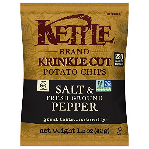 Kettle Brand Potato Chips, Krinkle Cut Salt and Fresh Ground Pepper, Single-Serve 1.5 Ounce (Pack of 24) (Best Kettle Cooked Chips)