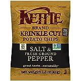 Kettle Brand Krinkle Cut Potato Chips, Salt and Fresh Ground Pepper, 1.5 Ounce (Pack of 24)