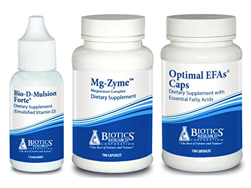 Biotics Research Supplement Bundle (3 Items) – Bio-D-Mulsion Forte + Mg-Zyme + Optimal EFAs Caps (Caps 100 Zyme)