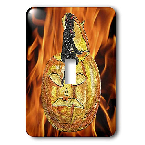 3dRose Sandy Mertens Vintage Halloween Designs - Devil on Jack o Lantern with Modern Flames Background - Light Switch Covers - single toggle switch (lsp_53710_1)