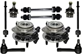 PartsW 10 Pcs Kit Front Wheel Bearing and Hub Assembly Inner Outer Tie Rod Ends Lower Ball Joints Sway Bar End Link