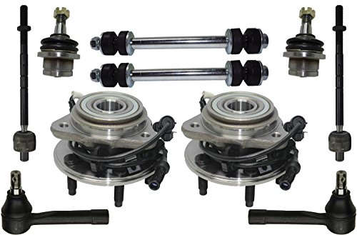 PartsW 10 Pcs Kit Front Wheel Bearing and Hub Assembly Inner Outer Tie Rod Ends Lower Ball Joints Sway Bar End Link by Parts Warehouse