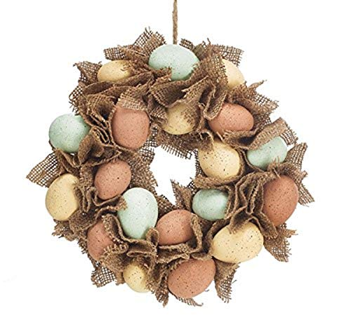 (Speckled Easter Eggs Burlap Wreath, 12)