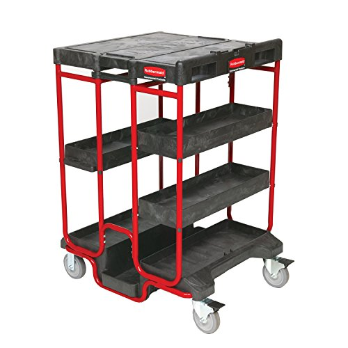 Rubbermaid-Commercial-Products-FG9T5700BLA-Ladder-Steel-Service-Cart-4-Shelves-500-Pound-Load-Capacity-42-Inches-31-12-Inches-x-27-Inches-Black