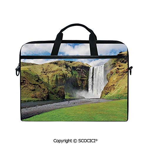 Mobile Edge Select Leather - Customized Printed Laptop Bag Notebook Handbag Waterfall Flowing Over High Cliffs Northern America Scenic Nature Photo 15