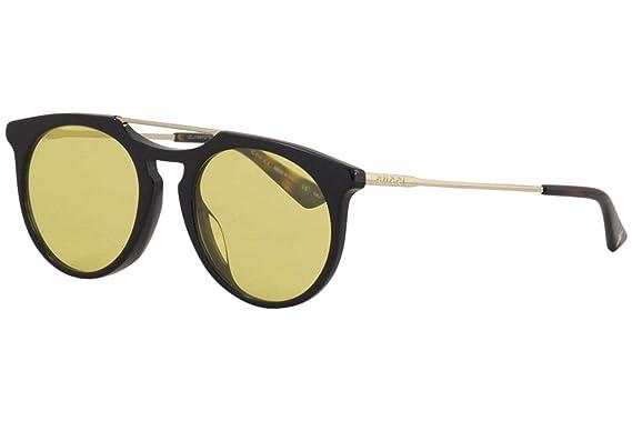 a7b2176242 Amazon.com  Gucci GG0320S Sunglasses 002 Black Gold   Yellow Lens 53 ...