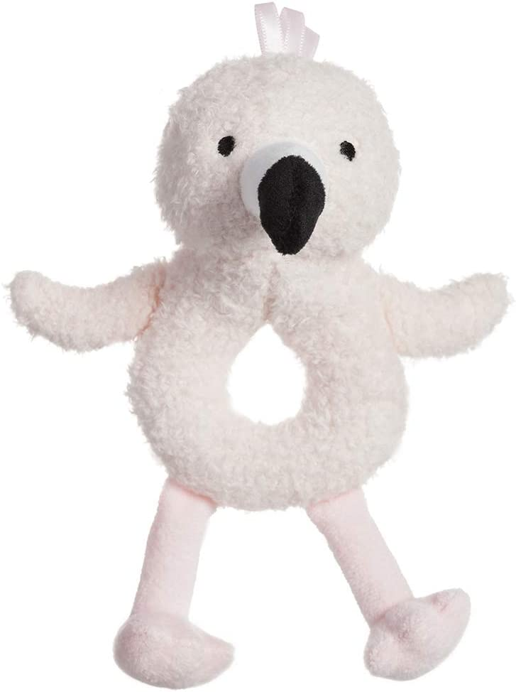 Flamingo, 6 Inches Apricot Lamb Baby Flamingo Soft Rattle Toy Plush Stuffed Animal for Newborn Soft Hand Grip Shaker Over 0 Months