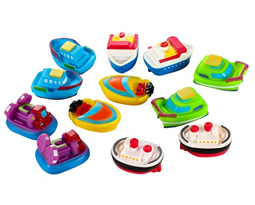 Blue Panda Bath Toy Boats - 12-Pack of Bathtub Toys, Rubber Bath Squirter Tub Toys for Kids, 6 Models, 2 of Each, Ages 3 and Up, 3 x 1.5 x 2 Inches by Blue Panda