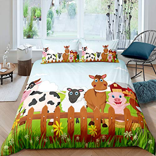 Animal Comforter Cover Cute Cartoon Cow Horse Goat Pig and Chicken Duvet Cover with Zipper Ties Teen Girls Boys Kids Farmhouse Decor Bedding Set Green Botanical Floral Printed Bedspread, Queen Size
