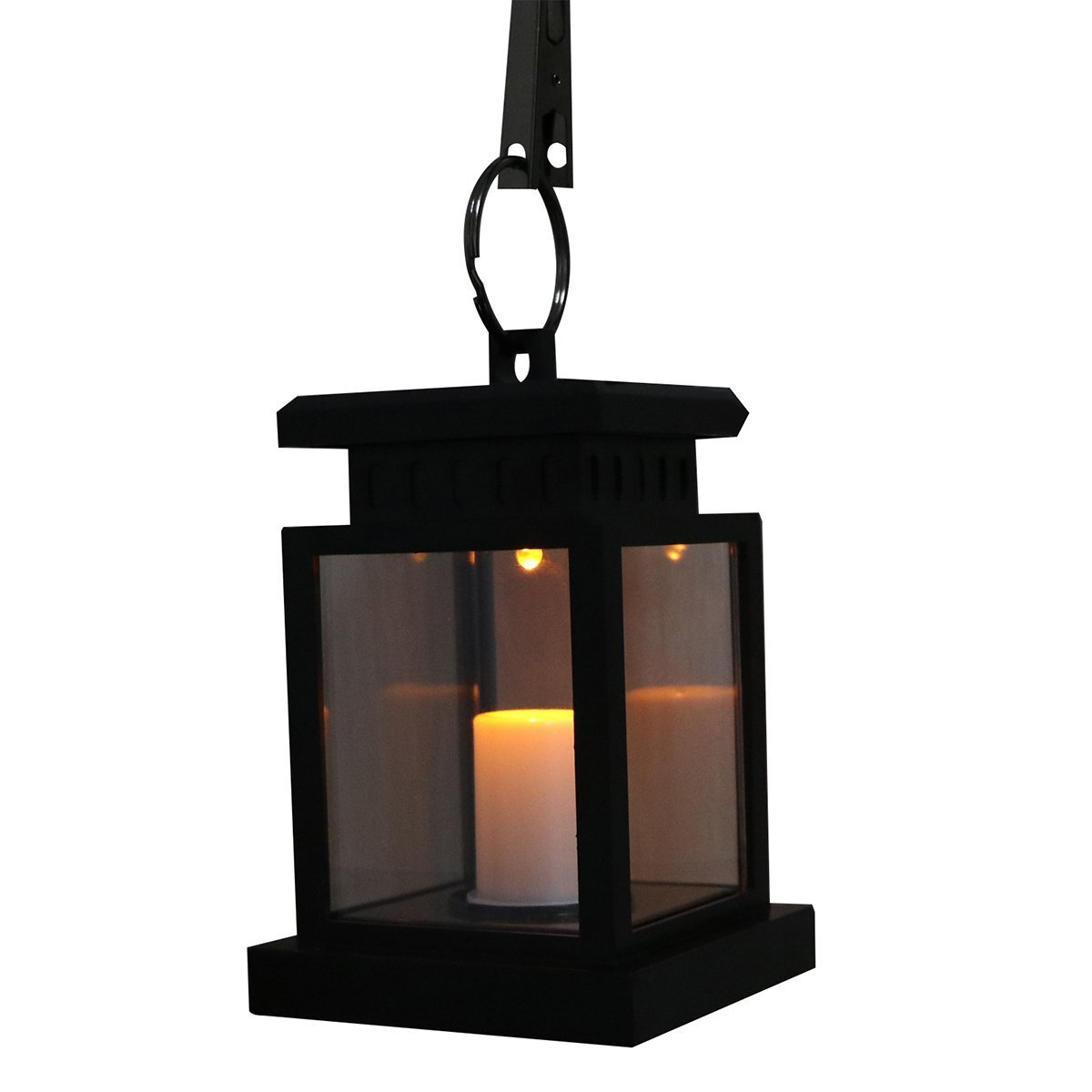 Candle Lantern Sunsbell Outdoor Hanging Lantern LED Solar Mission Lantern with Clamp (1)