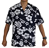 Made in Hawaii! Men's Hibiscus Flower Classic Hawaiian Shirt Collection (3XL, NAVY/WHITE)