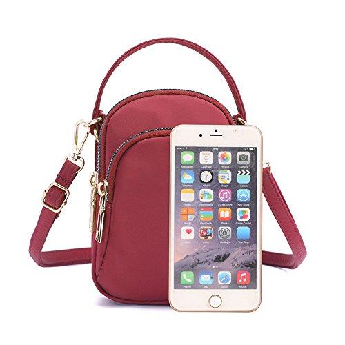 Red Pouch Bag Handbag Ladies Crossbody Wristlet Phone Beige Shoulder Handbags Small Design Girls Nylon 1YqFOv