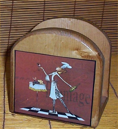 Fat Chef Wood - Fat Chef Lady Wood Napkin Holder Bistro Home Decor New
