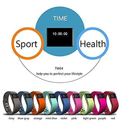 iTontek® TW64 Bluetooth V4.0 Smart Watch Sport Bracelet Wristband Gym Running Pedometer Fitness Activity Tracker Reminder for IOS 6.1+version, Android 4.3+version