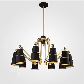 SUHANG Wandlampe Beleuchtung Teleskop Bügeleisen Restaurant Light Art Wohnzimmer  Lampen, Kopf Schwarz Gold: Amazon.de: Beleuchtung