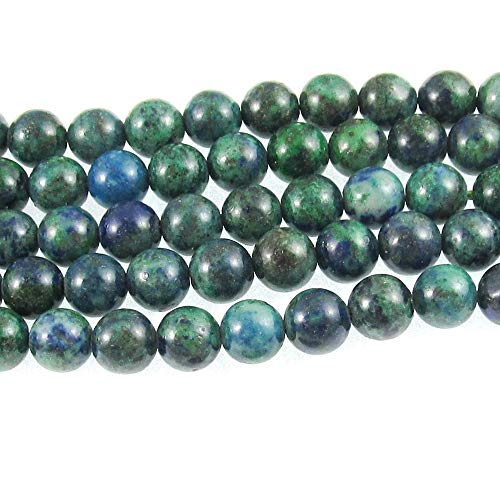 Blue Green Azurite Chrysocolla Round Gemstone Beads 15