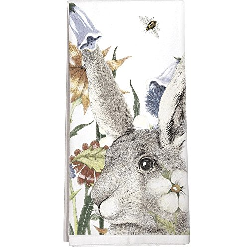 Montgomery Street Rabbit and Flowers Cotton Flour Sack Dish Towel