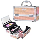 Joligrace Makeup Box Cosmetic Train Case Jewelry Organizer Lockable with Keys and Mirror 2-Tier Tray Portable Carrying with Handle Travel Storage - Orange