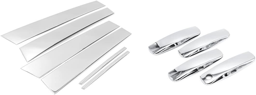 Sizver Chrome Stainless Steel Pillar Posts Accent+Door Handle Covers For 2011-2015 Dodge Charger 6pcs
