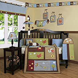 Geenny Boutique Boy's Airplane Aviator 13 Piece Baby Crib Bedding Set