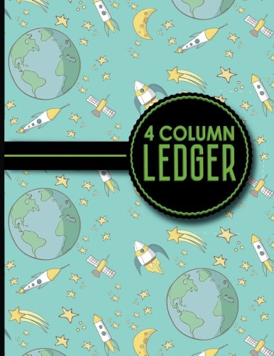 4 Column Ledger: Ledger Books, Accounting Ledger Sheets, General Ledger Accounting Book, Cute Space Cover, 8.5