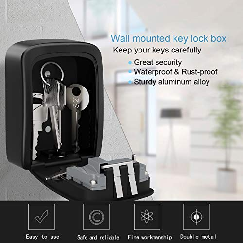 Nice Key Lock Box Wall Mounted Aluminum Alloy Key Safe Box Weatherproof 4 Digit Combination Key Storage Lock Box Indoor Outdoor Kleidung & Accessoires