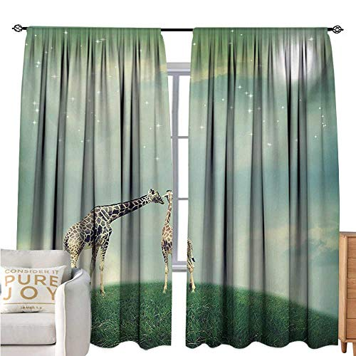 bybyhome GiraffeWindshield curtainMother Child Animal on Meadow Fairytale Atmosphere Shining Stars Romance Moon ImageMildew-Proof Polyester Fabric W84 xL108 Multicolor