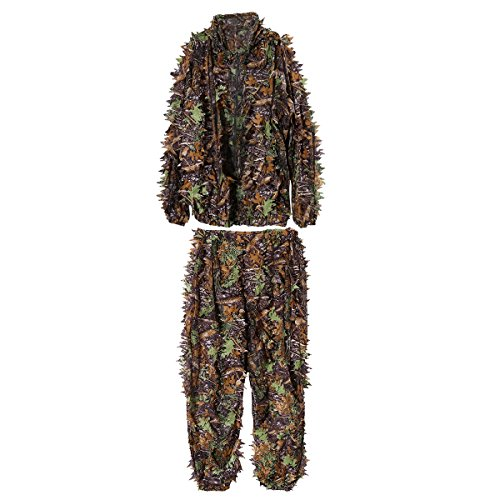 VORCOOL Camo Suit Leaf Camouflage Woodland Suit Set 3D Jungle Forest Hunting Lightweight ()
