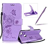 Strap Leather Case for Huawei P10 Lite,Wallet Flip Case for Huawei P10 Lite,Herzzer Bookstyle Stylish Brilliant Light Purple Butterfly Sunflower Ants Pattern Stand Magnetic Smart Leather Case with Soft Inner for Huawei P10 Lite + 1 x Free Purple Cellphone Kickstand + 1 x Free Purple Stylus Pen