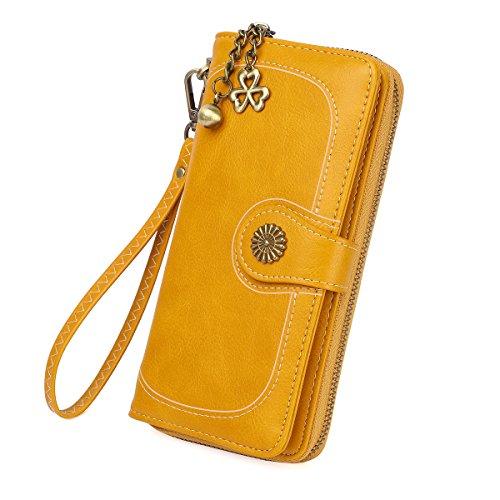 Zg Plenty Roomy Zip Around Wallet Clutch Purse with Tassel and Strap - Yellow