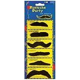 Moustache Movember 6 x Black Moustaches Assorted Fancy Dress Accessories