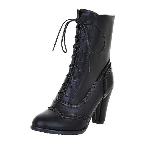 a971571fee36c Femmes Bas Bottes De Neige, Escarpins Femme Talon Compensé Haut Sexy Shoes  Mariage Bottines Talon Bottes Lacets Heel High  8cm  Amazon.fr  Chaussures  et ...