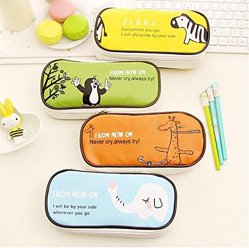 Fablcrew 1 Stück Mäppchen Bleistiftbeutel Briefpapier Tasche Blau PU-Material Baby-Elefanten-Muster Geeignet für Studenten zu verwenden vgVJWs